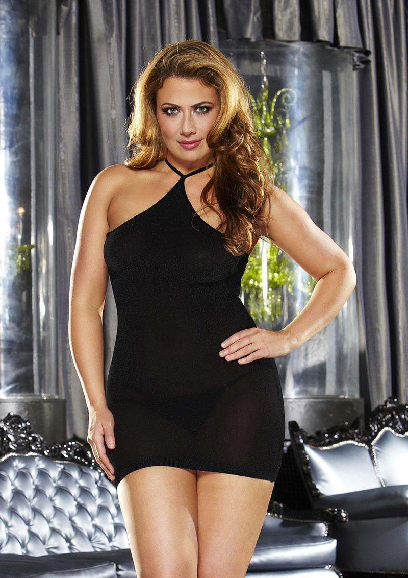 Vip Mini Dress - Solid Black Plus